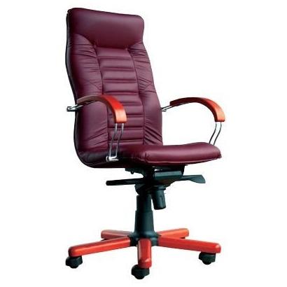 Красное кожаное офисное кресло Olympus Wood Chrome